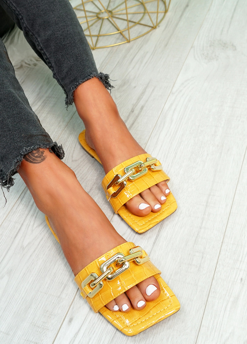 Loxy Mustard Yellow Croc Pattern Flat Sandals
