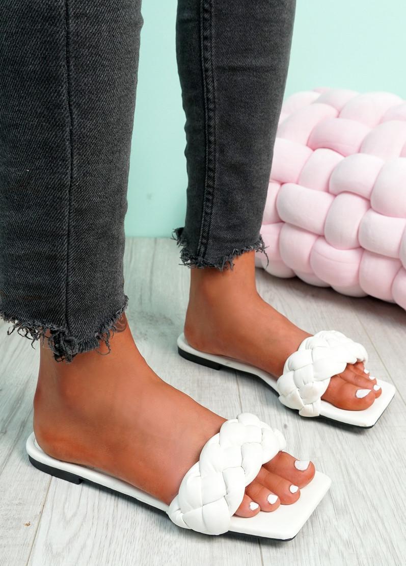 Sebba White Square Toe Flat Sandals
