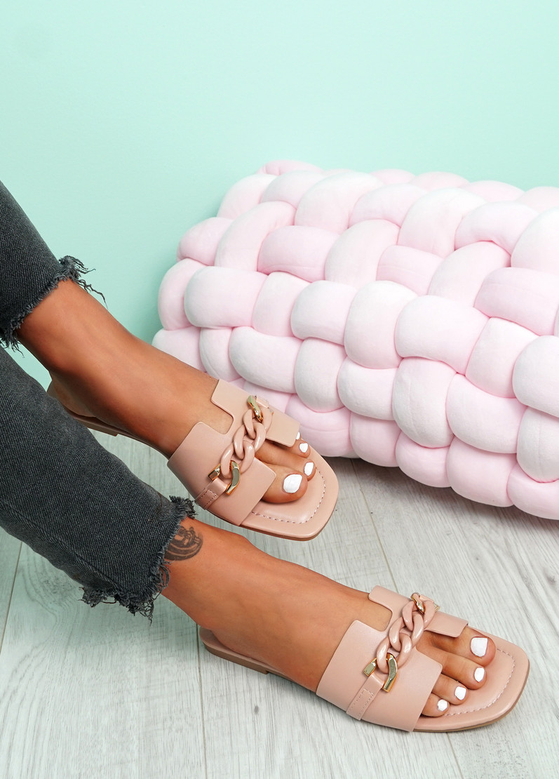 Trinna Pink Front Chain Sandals