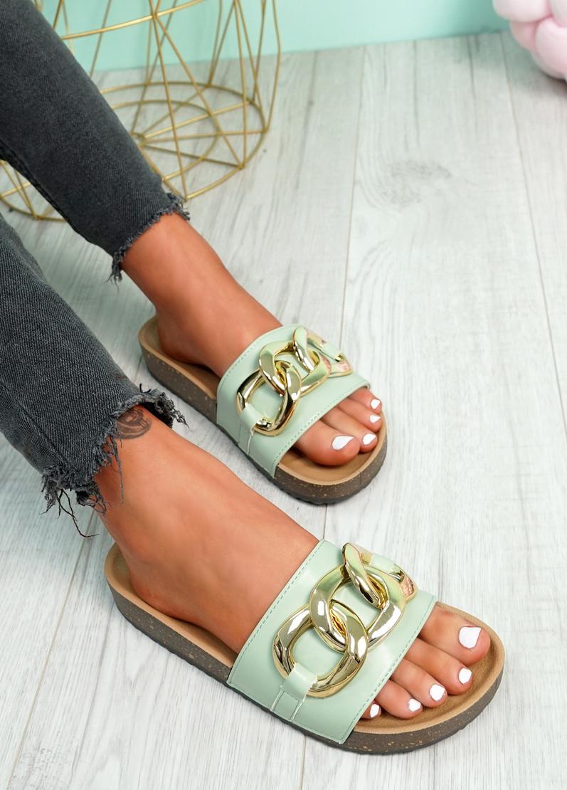 Samma Aqua Green Platform Chain Sandals