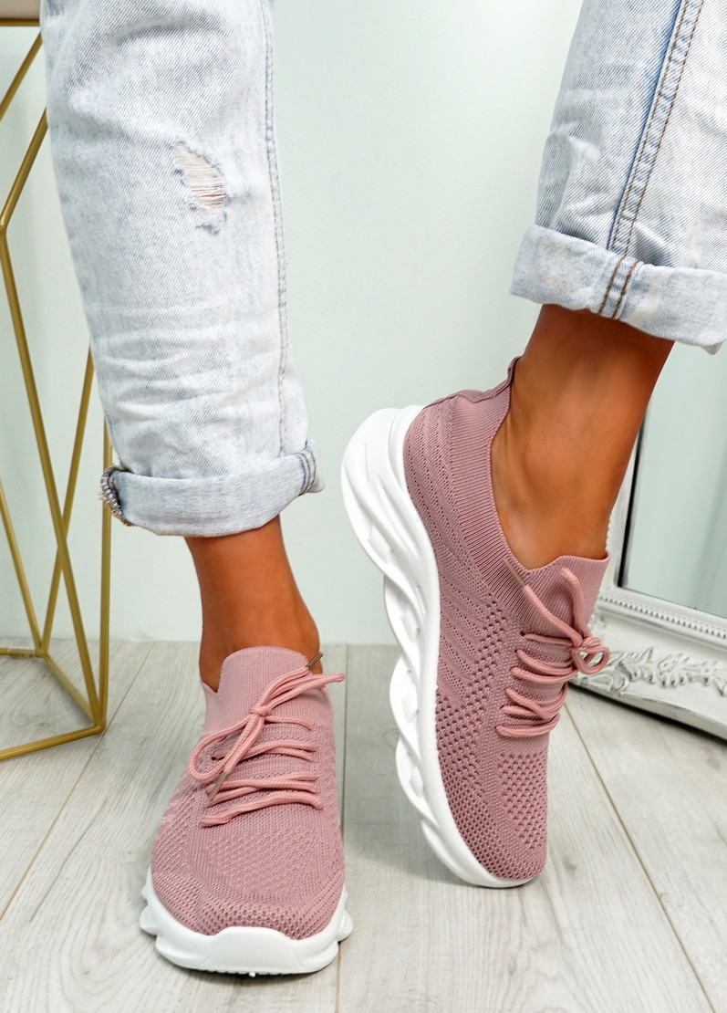Canny Pink Slip On Trainers