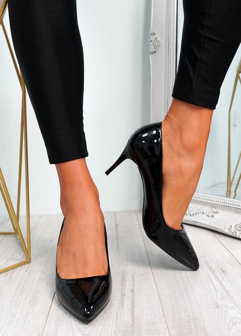Votty Black Stiletto Heel Pumps