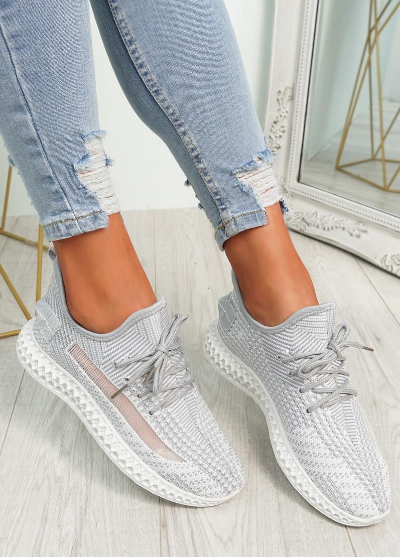 Mirra Grey Knit Trainers