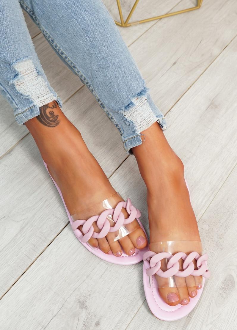Vemma Pink Slip On Flat Sandals