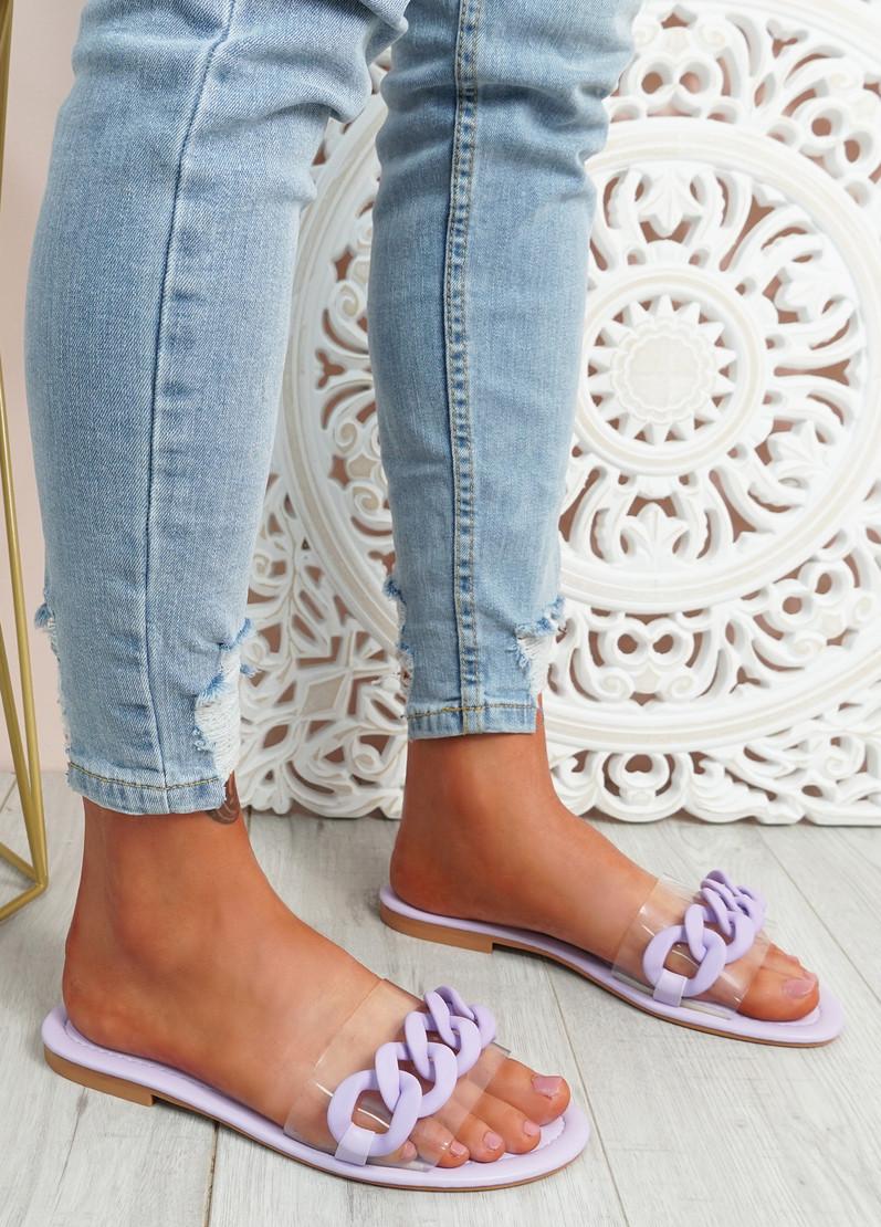 Vemma Purple Slip On Flat Sandals