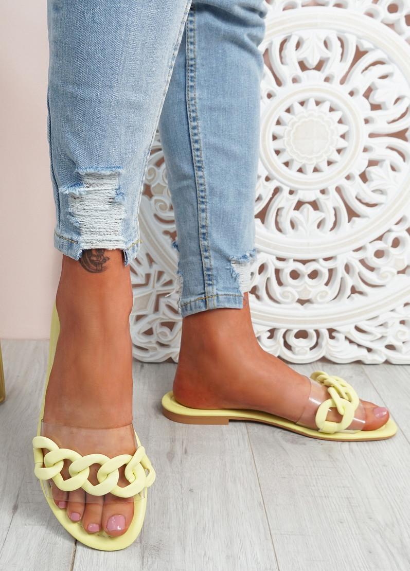 Vemma Yellow Slip On Flat Sandals