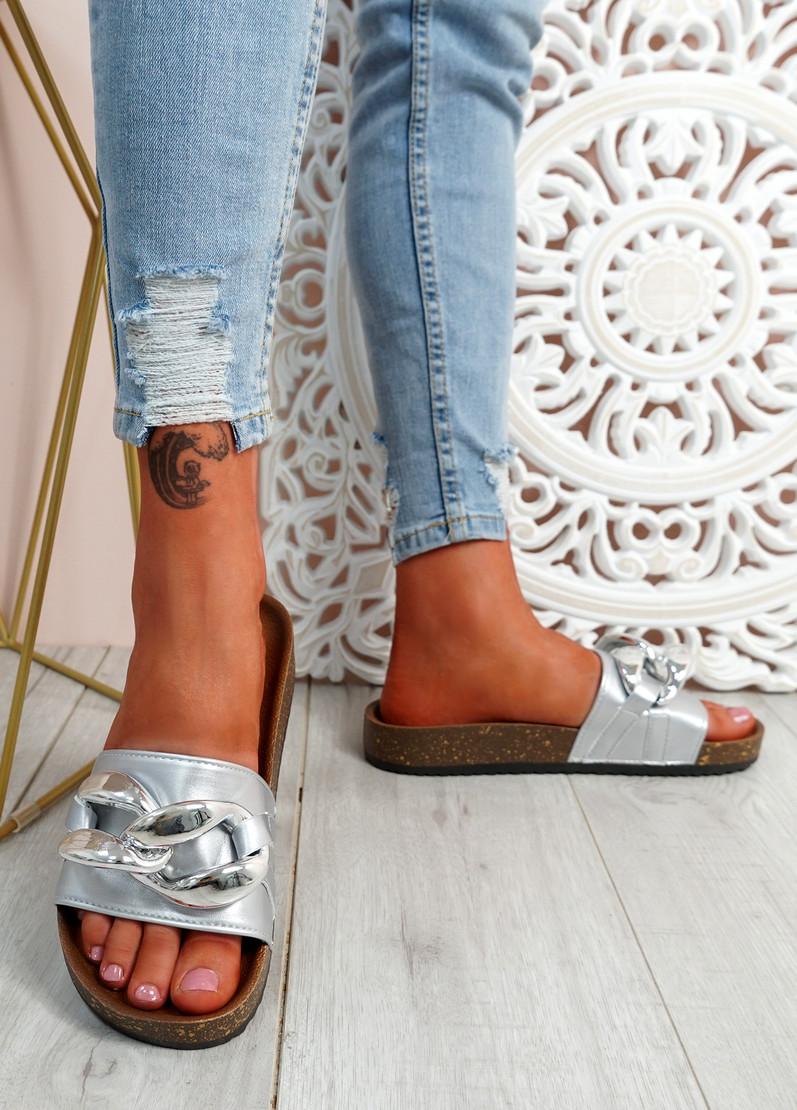 Ryo Silver Flat Sandals