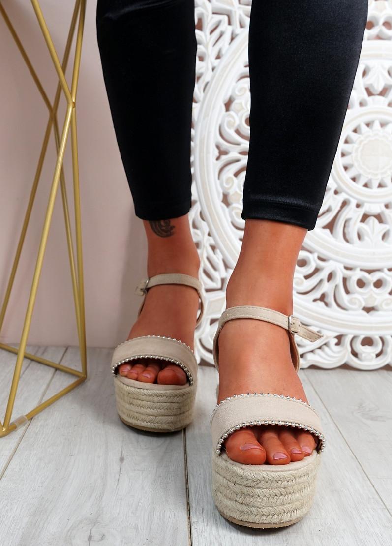 Lavy Beige Wedge Platform Sandals