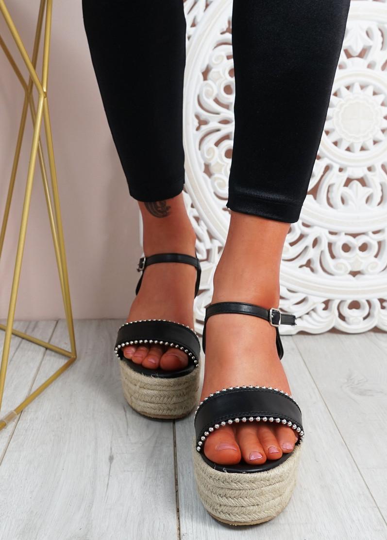 Lavy Black Pu Wedge Platform Sandals