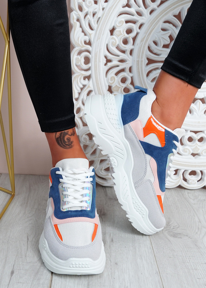 Donni White Blue Chunky Sneakers