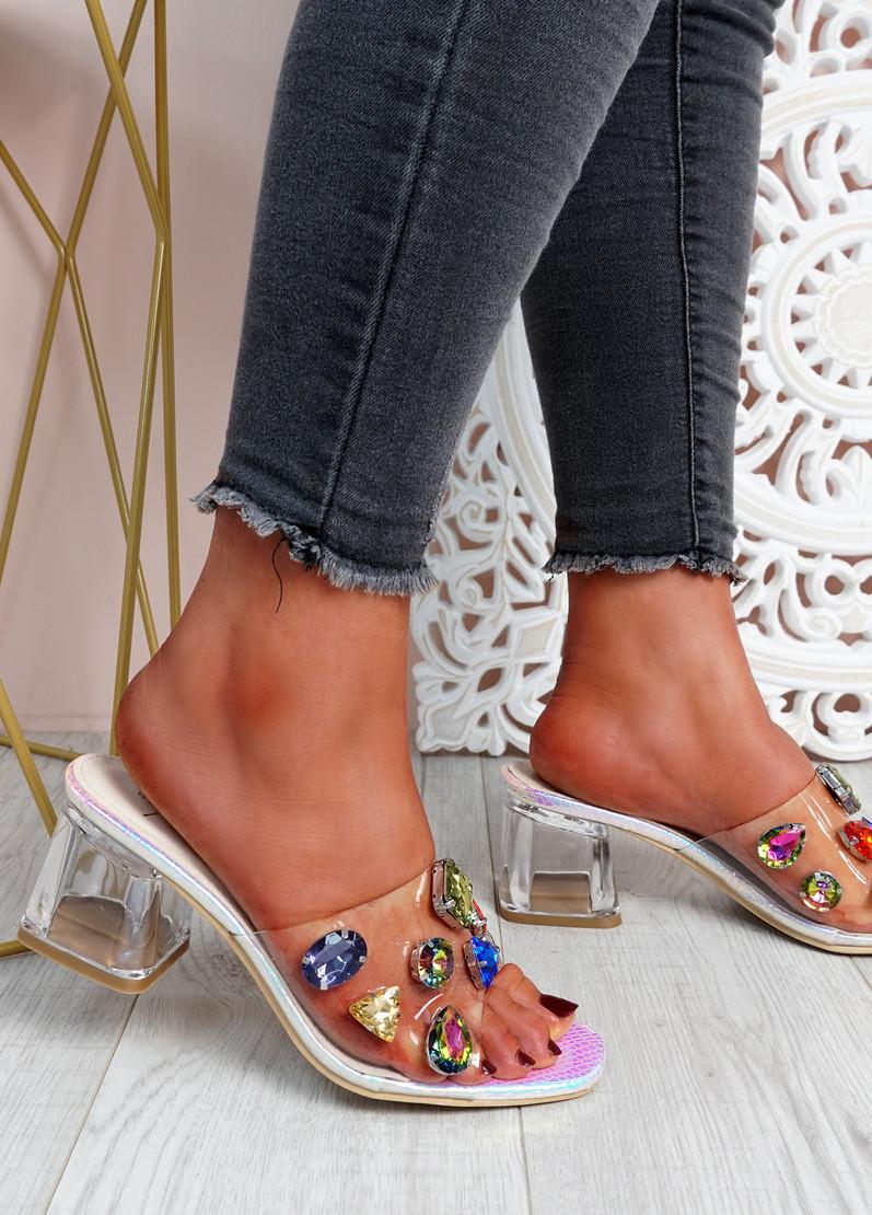 Dony Neon Rhinestone Slip On Sandals