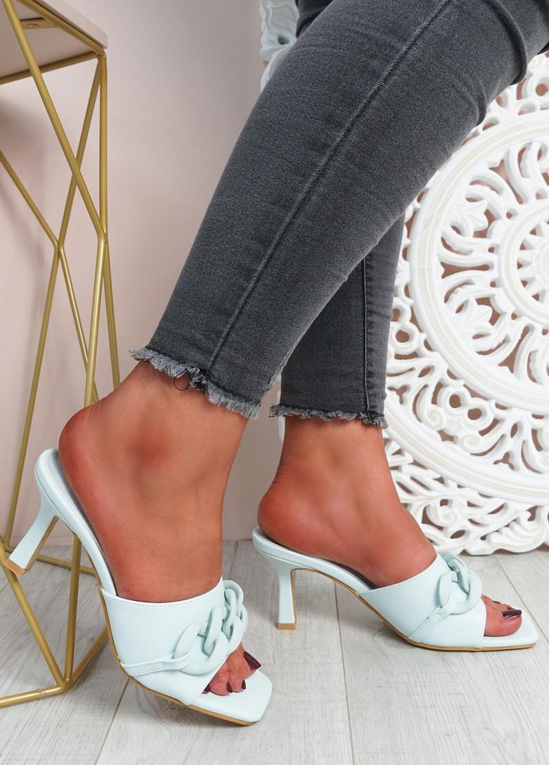 Nory Light Blue Slip On Stiletto Sandals