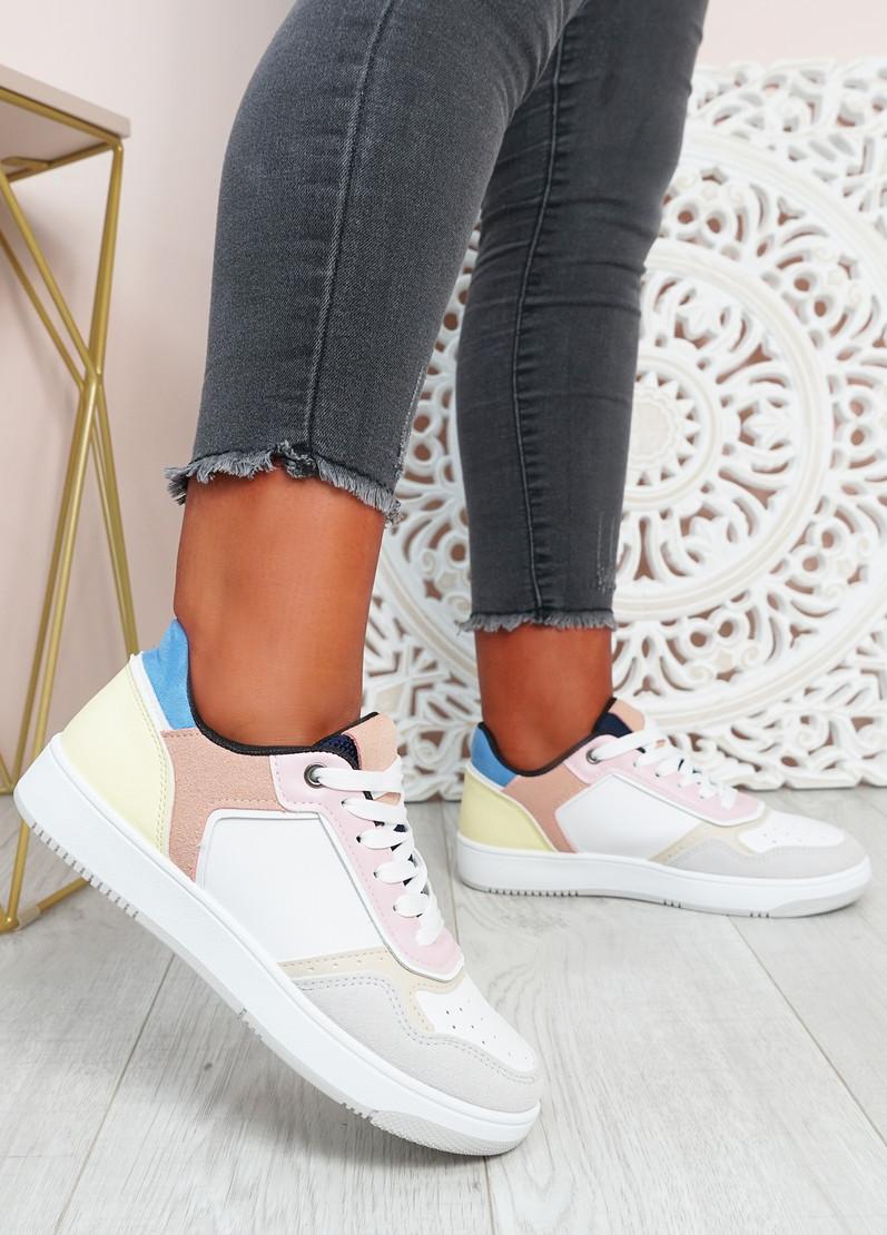 Saskia White Pink Sport Sneakers