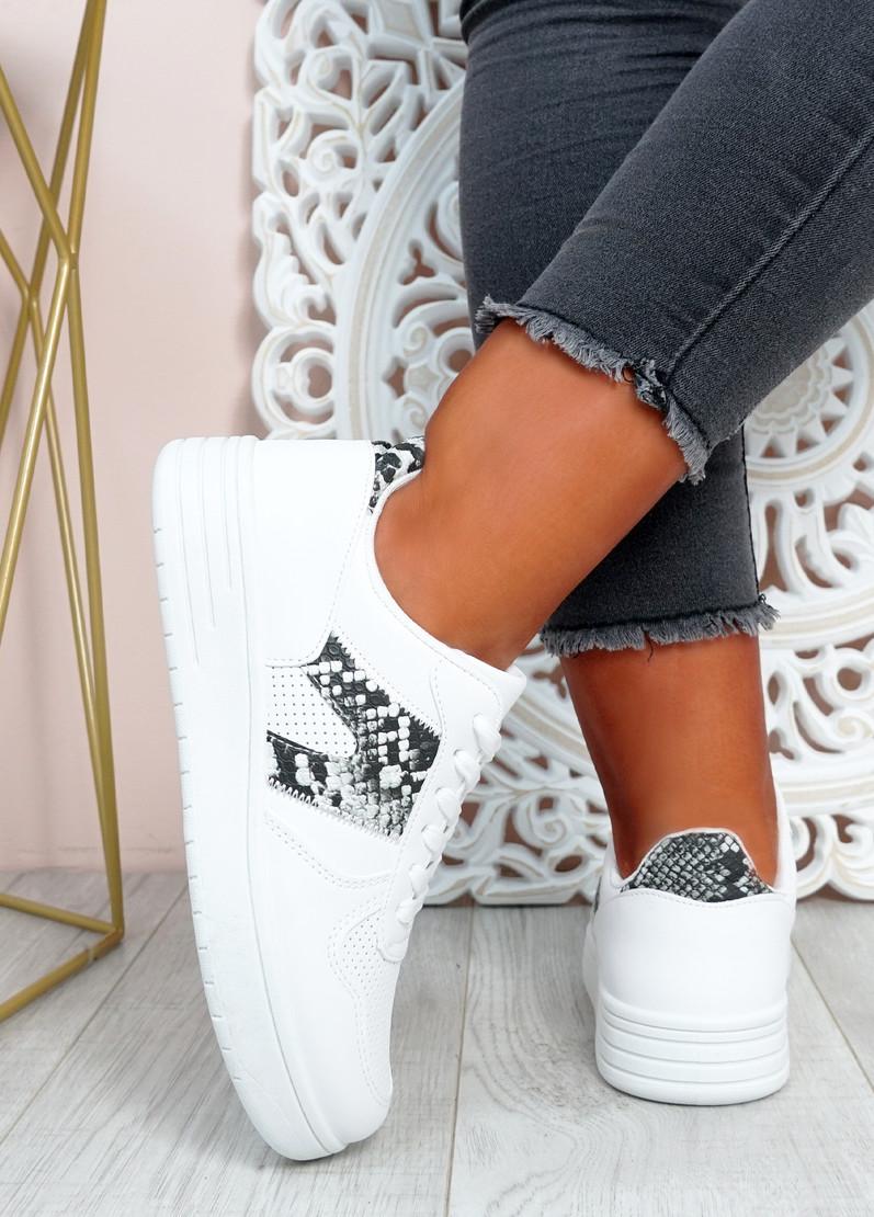 Roxanne White Snake Platform Sneakers