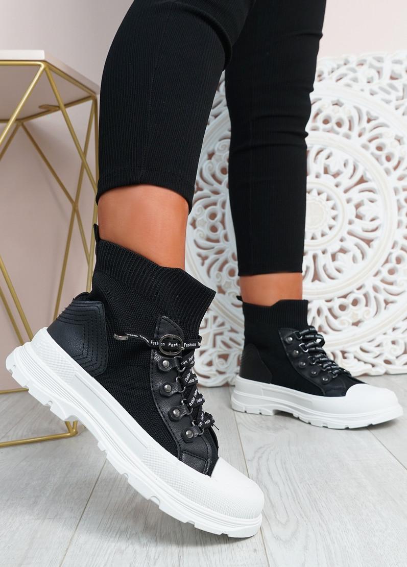 Delilah Black Slip On Knit Trainers