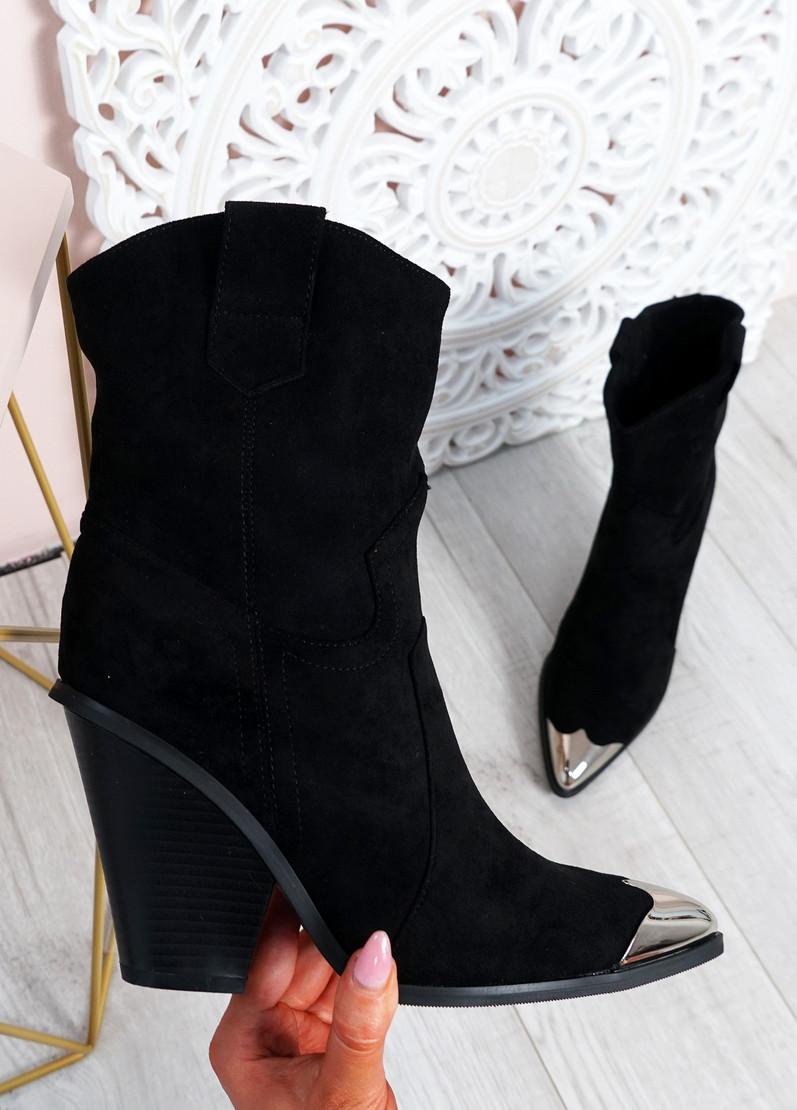 Brenna Black Block Heel Mid Calf Boots