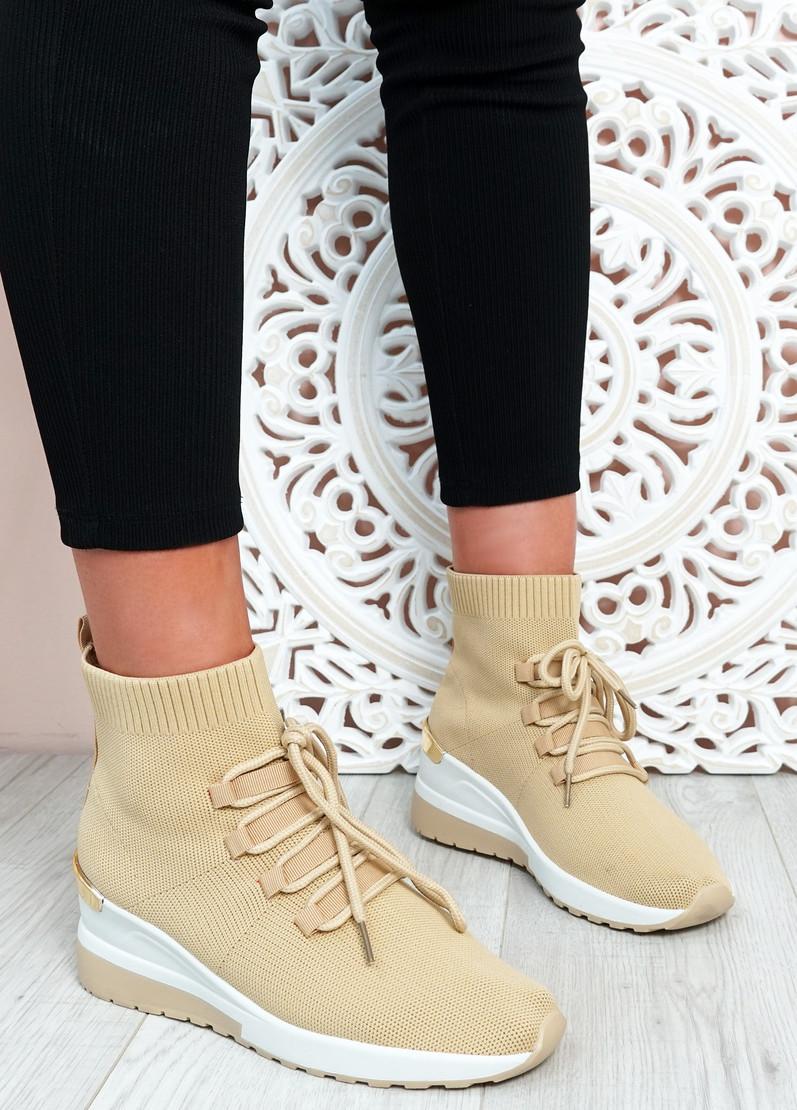 Shayna Khaki Wedge Sock Sneakers