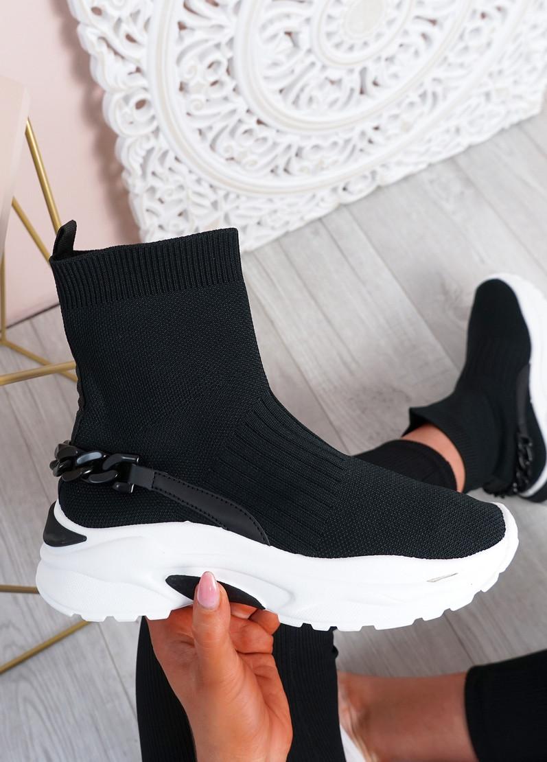 Kara Black Chunky Sock Chunky Sneakers