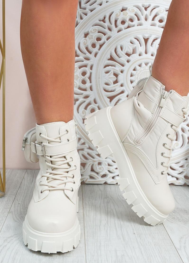 Leonie Beige Platform Ankle Boots