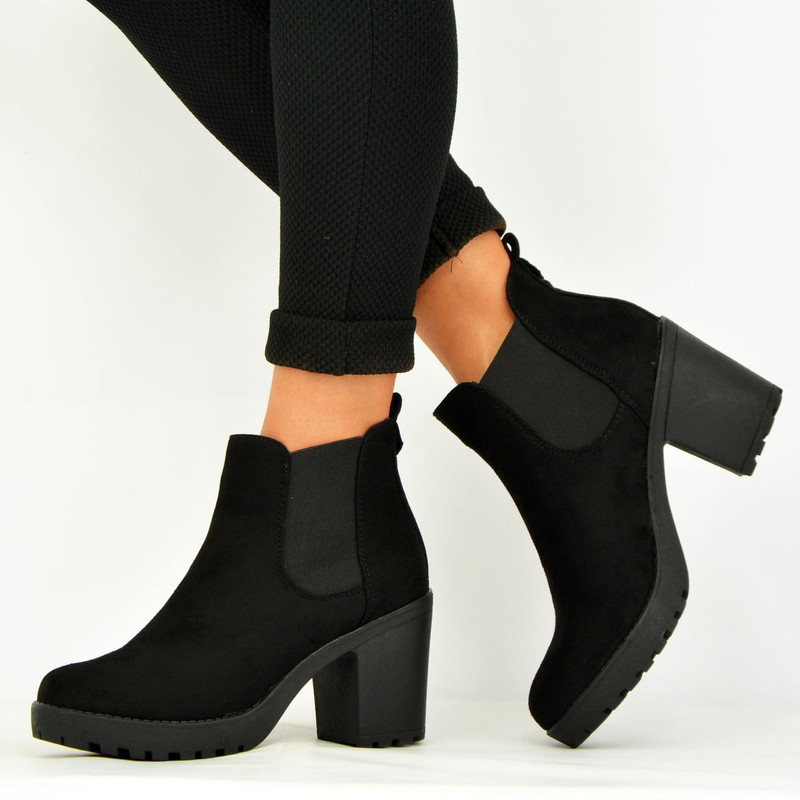 BLACK SUEDE CHUNKY BLOCK HEEL ANKLE BOOTS