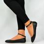 Black Pu Ankle Strap Ballerinas
