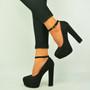 Black Ankle Strap Platform Pumps