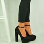 Black Ankle Strap Platform Pumps
