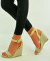 Beige Ankle Strap Studs Wedges
