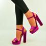 Fuchsia Velvet Ankle Strap Platform Sandals