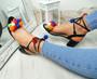 Nicola Black Pom Pom Sandals