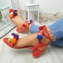 Nicola Red Pom Pom Sandals