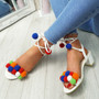 Nicola White Pom Pom Sandals