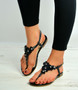 Black Flower Diamante Flat Sandals
