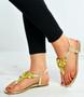 Gold Flower Flat Sandals