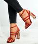 Red Floral Block Heel Sandals