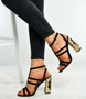Black T Bar Floral Block Heel Sandals