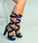 Blue Ankle Tie Platform Block Heel Sandals