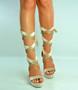 Beige Ankle Tie Platform Block Heel Sandals