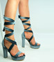 Grey Ankle Tie Platform Block Heel Sandals