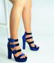 Blue Triple Strap Block Heel Platforms