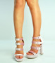 Pink Triple Strap Block Heel Platforms