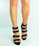 Black Triple Strap Block Heel Platforms