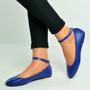 Navy Ankle Strap Ballerina Pumps
