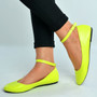 Neon Yellow Ankle Strap Ballerina Pumps