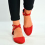 Red Suede Ankle Strap Ballerina Pumps