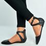 Black Pu Ankle Strap Ballerina Pumps