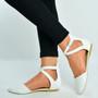White Pu Ankle Strap Ballerina Pumps
