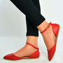Red Pu Ankle Strap Flat Ballerinas