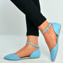 Blue Pu Ankle Strap Flat Ballerinas