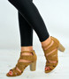 Camel Cage Block Heel Sandals